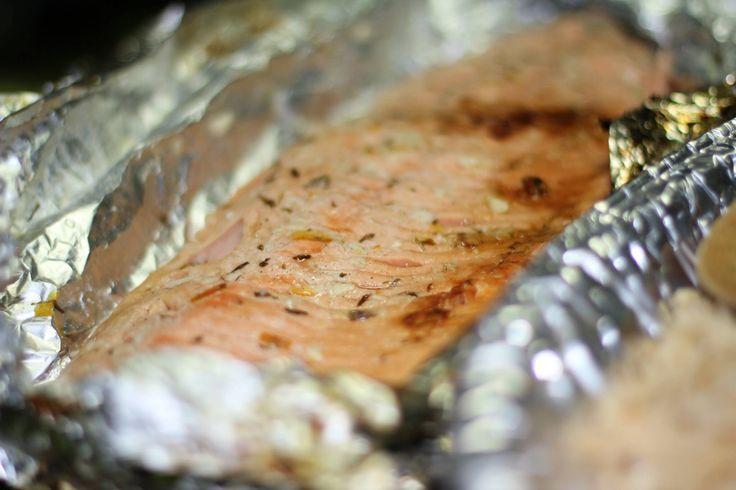 Honey Lemon and Orange Salmon on grill