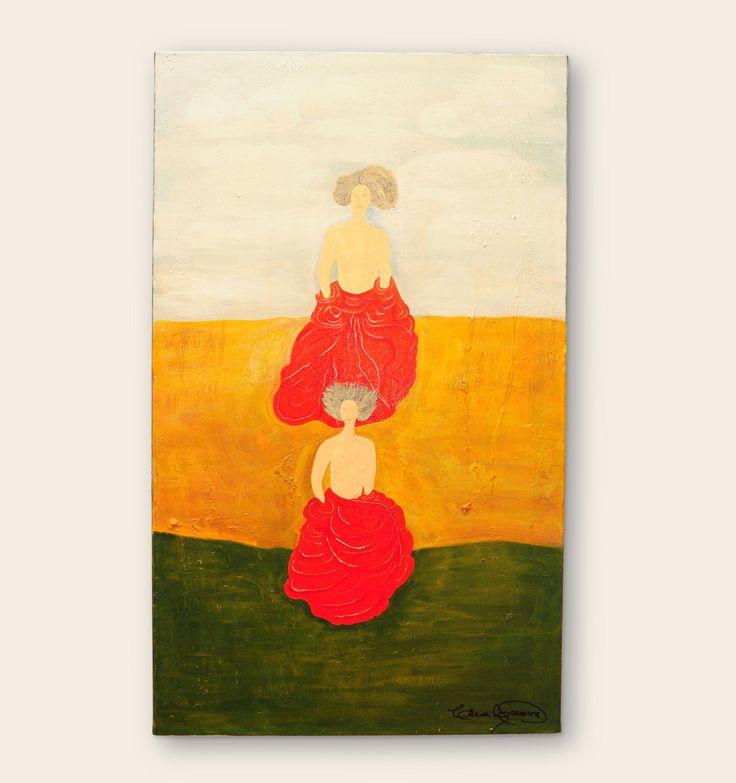Re-flotar Alma gemela, el alma se des-dobla para poder unirse en algún momento.  Medidas: 100 x 60 | Técnica: Acrílico, sobre bastidor. #pintura #subconsciente