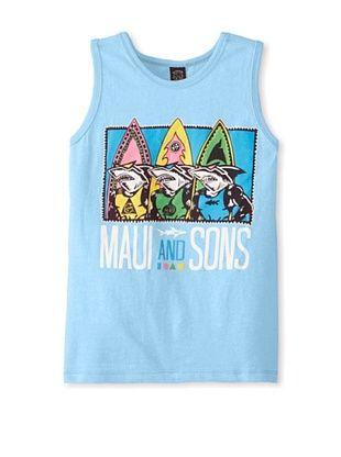 59% OFF Maui & Sons Boy's Shark Row Tank (Neon Sky Blue Heather)