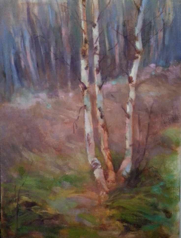 """Birches in World Heritage"" impressionist landscape oil painting by Heidi Hjort, Finland 2014"