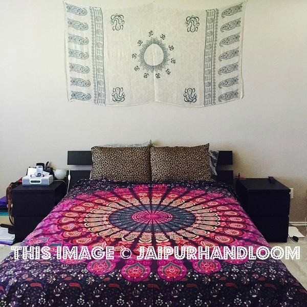 pink & purple bohemian bedcover cheap dorm tapestries wall hanging