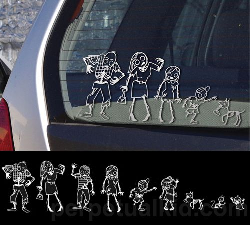 ZOMBIE FAMILY CAR STICKERS: Walks Dead, Cars Decals, Families Stickers, Cars Stickers, Sticks Figures, Families Cars, Car Stickers, Things, Zombies Families