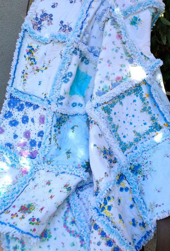 Blue Vintage style Hanky Handkerchief Rag Quilt VI by ZeedleBeez, $125.00