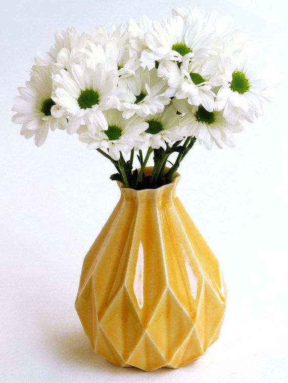 Geometric flower vaseYellow ceramic flower by StudioArmadillo