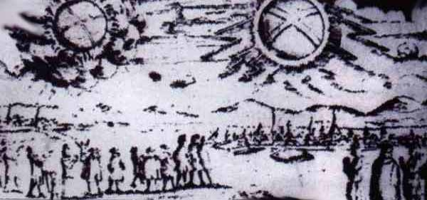 This picture shows a UFO sighting over Hamburg, Germany The objects were described as 'two glowing wheels' or UFOs November 4, 1697: