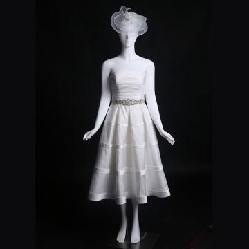 Po lýtka Bez ramínek S křišťálovou aplikací Svatební šaty 2016