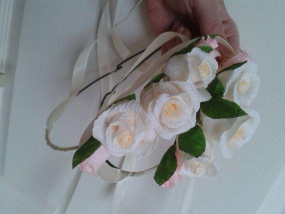 Tiara Wedding Small girl tiara crepe paper paper by moniaflowers