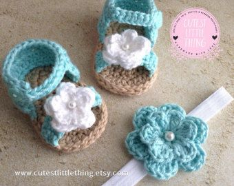 Sandalias rosa bebé crochet sandalias de por LittleFlowerbyGloria