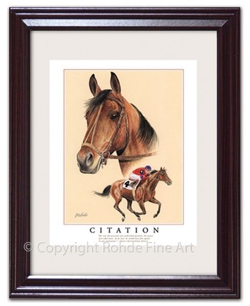Horse Racing 429: Citation - Framed Horse Racing Art Triple Crown Kentucky Derby Racehorse -> BUY IT NOW ONLY: $54 on eBay!