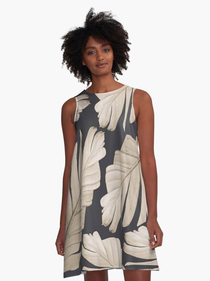 """Sepia Banana Leaves Dream #1 #foliage #decor #art"" A-Line Dress by anitabellajantz | Redbubble"