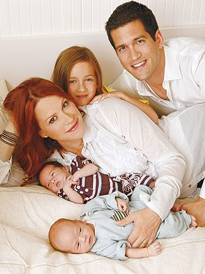 Molly Ringwald just after giving birth to twins Adele andRoman