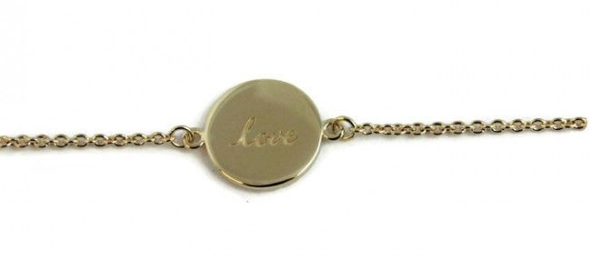 Small Thoughts Love Bracelet in Gold plated Sterling Silver- perfect gift for a bridesmaid or bride.