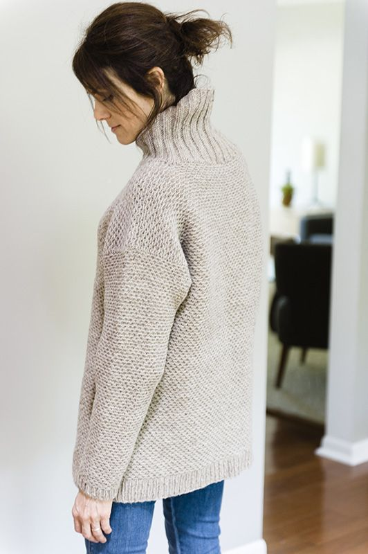 Driftwood turtleneck sweater pattern by Julie Hoover (knitting, textured, bottom-up)