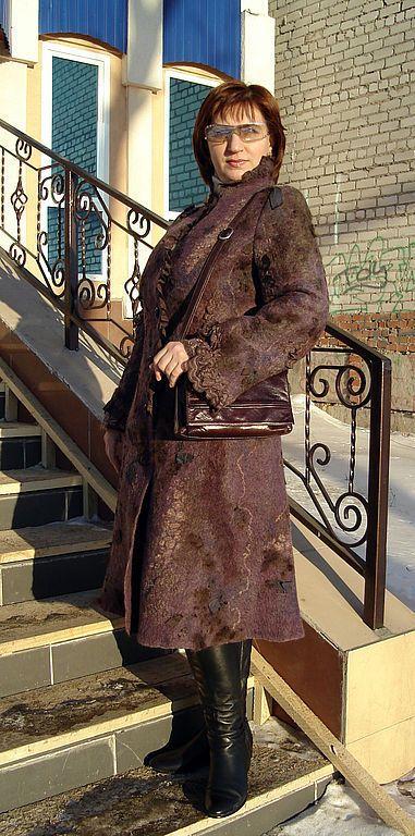 """Купить Пальто """"Ретро цвета баклажан"""" - пальто, авторская работа, нуновойлок, мода осень"""