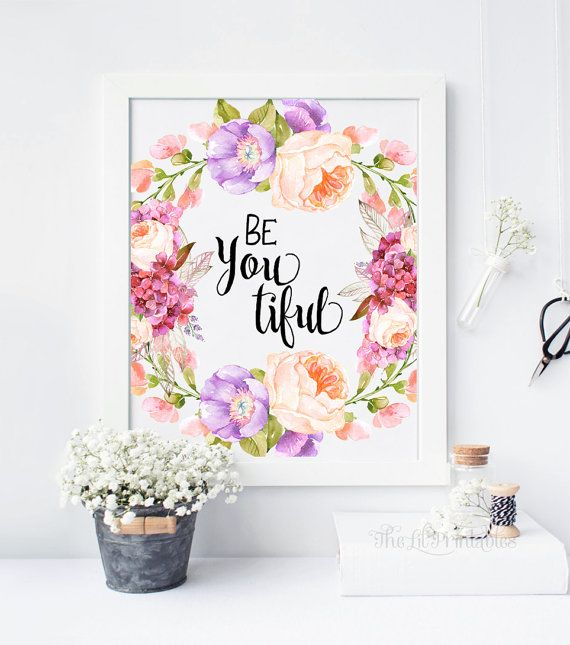 ❣ Please check our announcements tab for coupon codes! ❣  Be Youtiful Floral Wall Art Printable  ❥ No physical item will be shipped to you. You are purchasing high resolution JPEG files. All files are 8 x 10 inches at 300 DPI.  Download Includes: 1 RBG JPEG 1 CMYK JPEG If you do not wish to print from home, some amazing local print shops such as Staples and Costco provide beautiful wall art prints at very inexpensive prices. Alternatively, you may use online printer shops such as Shutterfly…