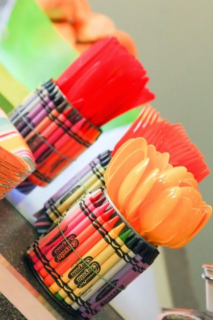 Crayon utensil holders at a Crayola Rainbow Birthday Party! See more party ideas at CatchMyParty.com!