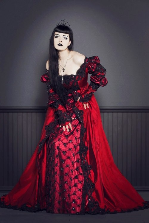 Victorian Goth house dress in lovely blood red color on #Goth girl