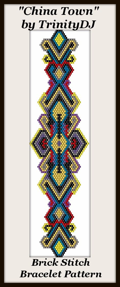 "New Brick Stitch bracelet pattern ""China Town"" - In The RAW -  Here's your chance to test bead new designs and earn DISCOUNTS on your next 'In the Raw' Design! Please follow this link for more info - http://cart.javallebeads.com/China-Town-Brick-or-Peyote-Pattern-p/td144.htm"