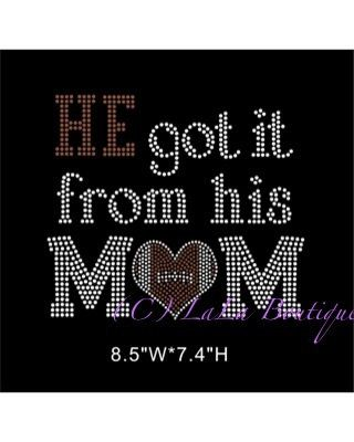 He got it from his mom football iron on hotfix -Rhinestone Transfer Hot Fix Bling -  DIY football mom hotix heat transfer for shirts tees on Etsy, $9.99