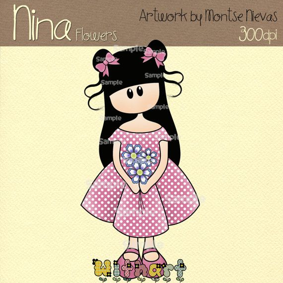 Flores prediseñadas digital de Nina muñecas 0268 por Withart, $2.99