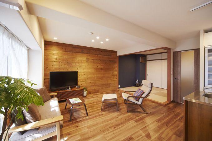 価格 Com ネイビーのアクセントクロスで和モダンな空間 和室のリフォーム事例 11411 リビングダイニング リフォーム リビング 和室