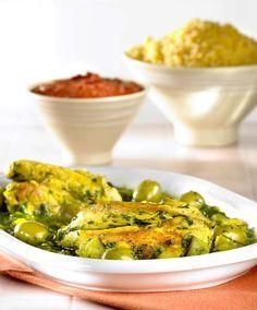 Kiptajine met spinazie en courgette