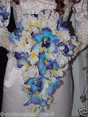 18 PCS Blue Purple Orchids & Ginger & Crystal Gems Bridal Wedding Bouquet Set