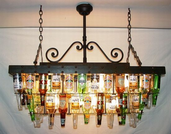 make a beer bottle chandelier for above a home bar