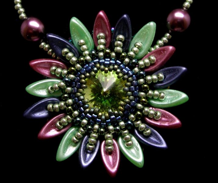 Pendants – Multicoloured sunflower necklace – a unique product by DarkEyedJewels on DaWanda