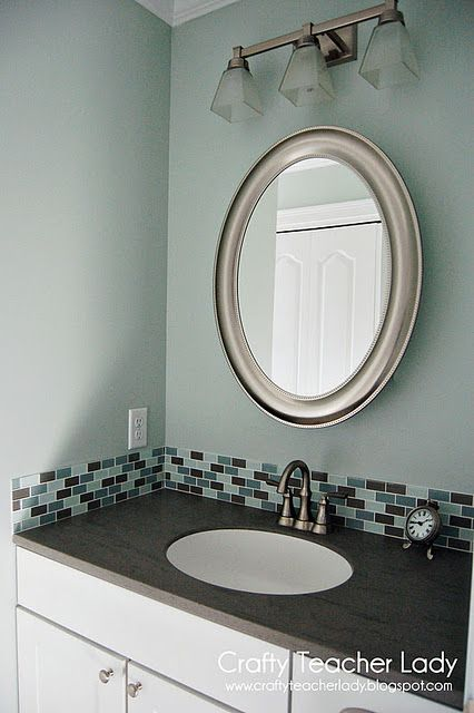 My bathroom in 'Sea Salt' by Sherwin Williams. Blog has a list of more coordinating 'beach inspired' paint colors!