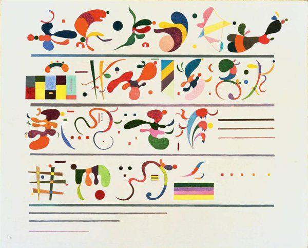 19. Succession, 1935 - This is almost a musical piece, marking the late period in Kandinsky's art. His fields became closed, fluid and definite in shape, while compositions featured scattered elements. He was returning to his abstract roots.