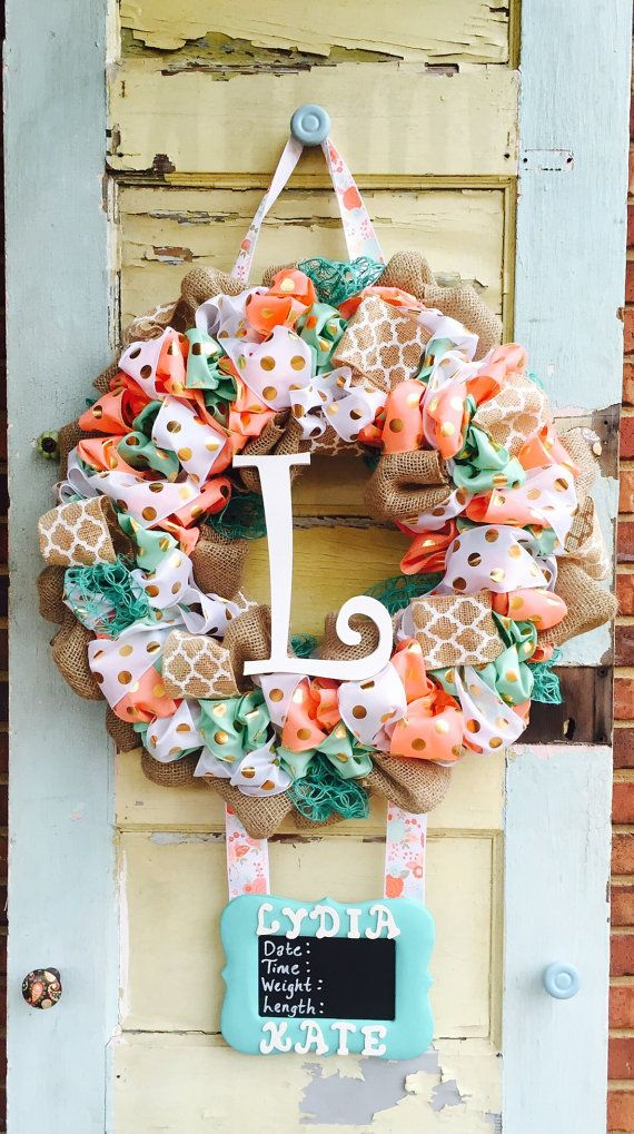 Baby Girl Coral/Mint Hospital Door Wreath by East2Nest on Etsy