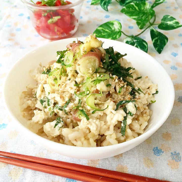 薬味たっぷり♪冷奴丼    食欲が無いときでもペロリと食べられちゃうヘルシーなお豆腐丼です❁ 火を使わずに、簡単に出来るので暑い日にもぴったり♪