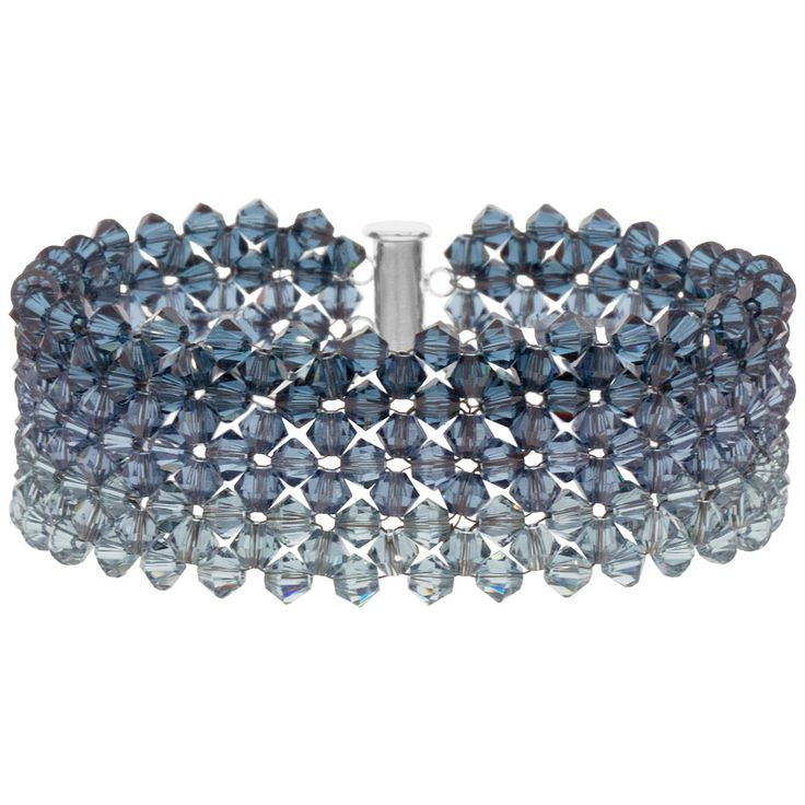 Faded Denim Bracelet (free pdf) - If you have a few hundred extra crystals and if you know RAW - full list of supplies but minimal tute. I expect more from store tutes, but the final product is lovely. #Seed #Bead #Tutorials