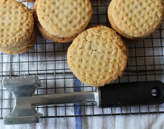 Classic Peanut Butter Cookies (use a meat mallet instead of the fork criss cross)