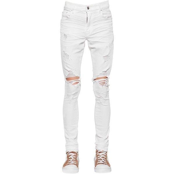Amiri Men 15cm Trasher Stretch Cotton Denim Jeans (3 735 PLN) ❤ liked on Polyvore featuring men's fashion, men's clothing, men's jeans, white, mens white jeans, mens tapered jeans, mens ripped jeans, mens super skinny ripped jeans and mens white distressed jeans