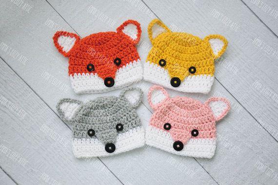 Crochet fox hat, baby fox hat, fox beanie, newborn photo prop, newborn fox hat, coming home outift, baby boy girl clothes, pink, grey on Etsy, $24.00
