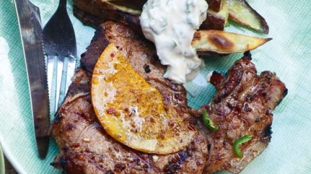 Cuban-style pork chops with kumara chips & chipotle crema