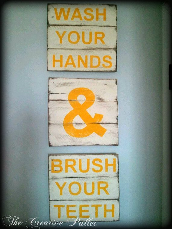 Wash Your Hands and Brush Your Teeth Bathroom Vintage Pallet Wood Signs
