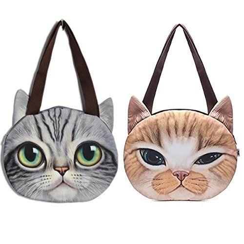 Donne gatto sveglio Vintage viso spalla borsetta. Effetto 3D di , occhio cattura. Adatto per lo svolgimento di telefono cellulare, portafoglio, ombrello, ecc