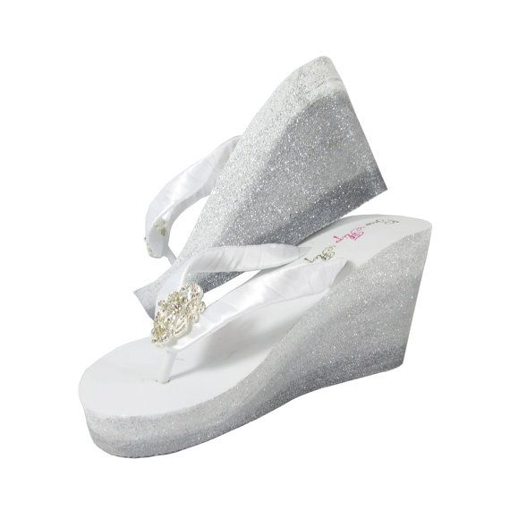 99676af1a8ee Ombre Glitter Flip Flops, Wedges with Rhinestone Bling & Custom Painted  Sides, Wedding Bridal Bridesmaid Shoes, Gift Box Blue, Fleur de Lis