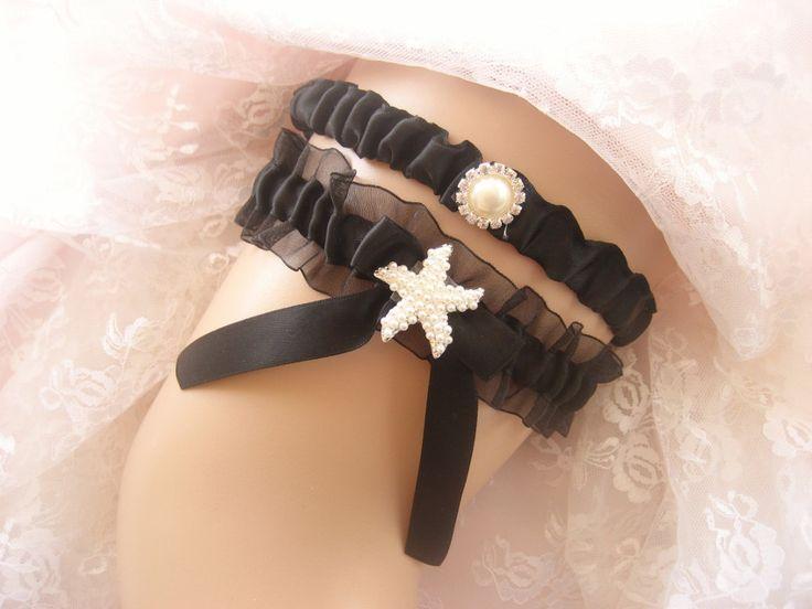 Beach Wedding Garter Set Starfish Black Toss Belt Garder By