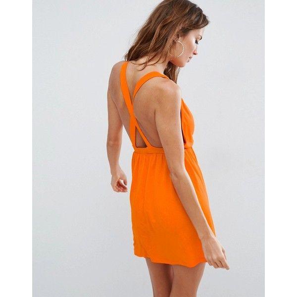 ASOS Cross Back Jersey Mini Beach Dress ($26) ❤ liked on Polyvore featuring dresses, orange, orange prom dresses, orange dresses, prom dresses, beach dresses and plunge-neck dresses