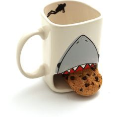 Shark Week Cookie Mug Shark Dunk Mug Live Every Week Like It's Shark... ($16) ❤ liked on Polyvore featuring home, kitchen & dining, drinkware, drink & barware, home & living, mugs and silver