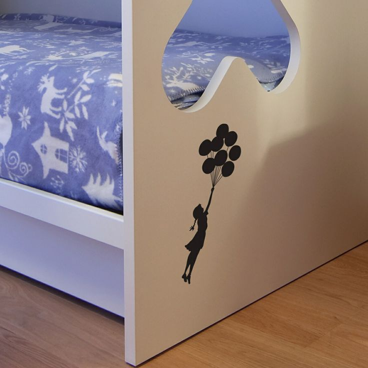 Hard To Find Monochrome Style. Small Banksy Balloon Floating wall sticker - cute for Lara's room