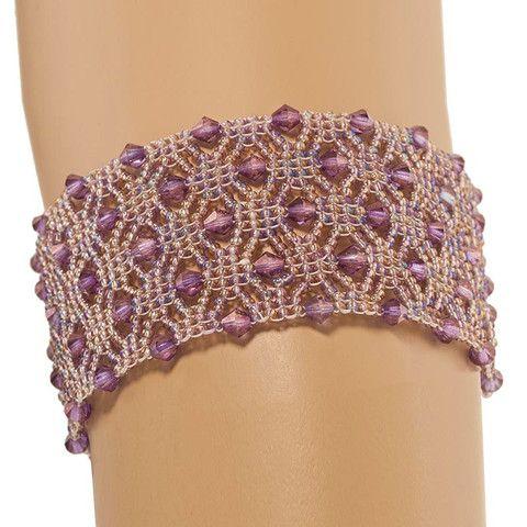 Handmade Lavender Glittering Beaded Macrame Bracelet