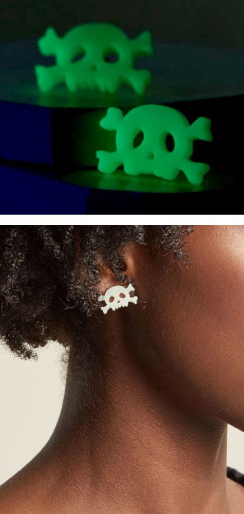 GLOWING EARRINGS -SKULL & CROSSBONES - glow in the dark earrings are perfect for glow party outfit ideas or pirate or skeleton halloween costume. xray humor, pirates of the caribbean birthday party, glowing green jewelry, pirate ship jolly roger flag, day of the dead, dia de los muertos, witch aesthetic, goth fashion, gothic wedding, biker chick outfit, rave outfits, festival fashion, spirits and ghost stories, witchcraft, wiccan spells, edgy fashion. This is an affiliate link.