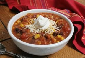 Taco Soup 1 lb ground beef; 1 Lg chopped onion, cooked with beef; 2 cans kidney beans; 1 can corn; 1- 15oz can Mexican diced tomatoes with Chiles; 1- 15 oz can Tomato Sauce; 1 packet taco seasoning mix; 1 packet ranch dressing mix; 1 1/2 cups water.  Combine all ingredients, bring to a boil and then simmer for fifteen minutes.