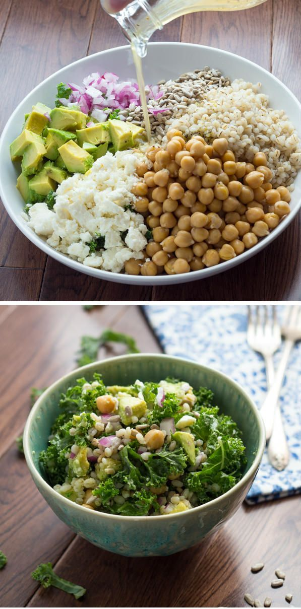 Kale, Barley and Feta Salad with a Honey-Lemon Vinaigrette   Kale, Barley, Feta, Chickpeas, Avocado, Sunflower Seeds and Red Onion are tossed in a tangy Honey-Lemon Vinaigrette. #lunch #kale