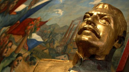 Statue of J. V. Stalin is seen in the Museum of Communism in Prague, Czech Republic